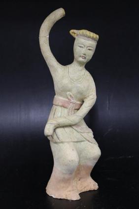 """Glazed Pottery Figure - Lady  Size : 13"""" T"""