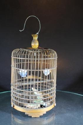 Chinese Carved Bamboo Birdcage  Chinese Carved Bamboo