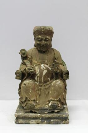 """Large Chinese Seated Carved Wooden Scholar  Size : 17"""""""