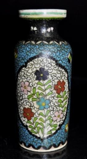 Japanese Totai Cloisonne on Porcelain Vase  Japanese