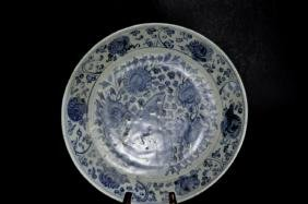 Ming Dynasty Blue and White Charger  Chinese Ming