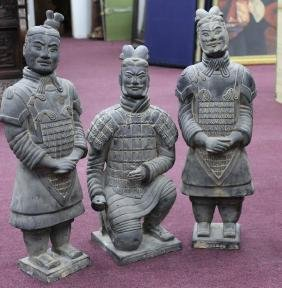 "Grouping of 3 Terra Cotta Warriors  Size: 20""H"