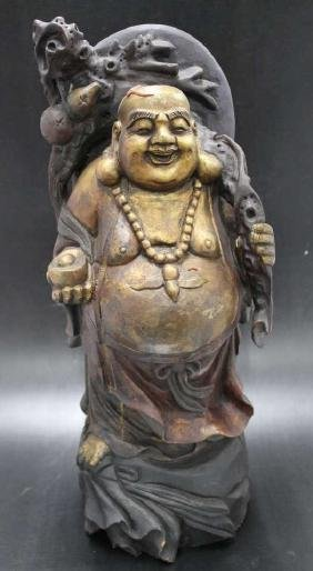 """Carved Wooden Buddha  Size : 19"""" T"""