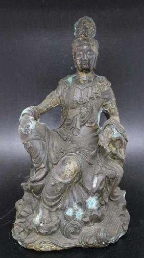 """Bronze Seated Guanyin  Size : 13.5"""" T"""