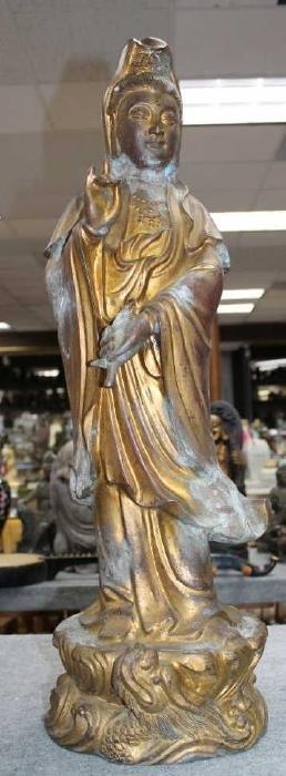 "Gold Gilt Metal Statue - Guanyin  Size:29.5""H"
