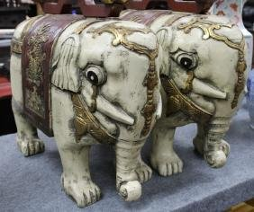 """Pair of Large carved Elephant Figures  Size : 18"""" T x"""