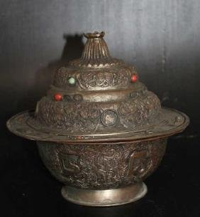 """Chinese Lidded Bowl w/ Elaborate Carving  Size : 8.5"""" T"""
