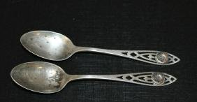 Lot of 2 Sterling Silver Spoons  Polytechnic College
