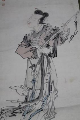 Chinese Scroll Painting - Lady  Chinese Scroll Painting