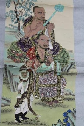 Chinese Scroll Painting - Monks  Chinese Scroll