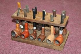 Vintage Pipe Stand Full of Pipes  Vintage Pipe Stand