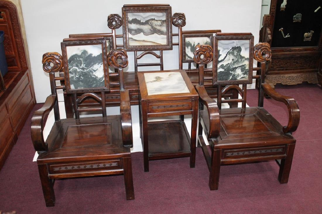 Chinese Carved Wood & Marble Parlor Suite