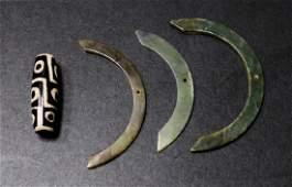 Chinese Jade Rings and Tibetan Dzi Bead