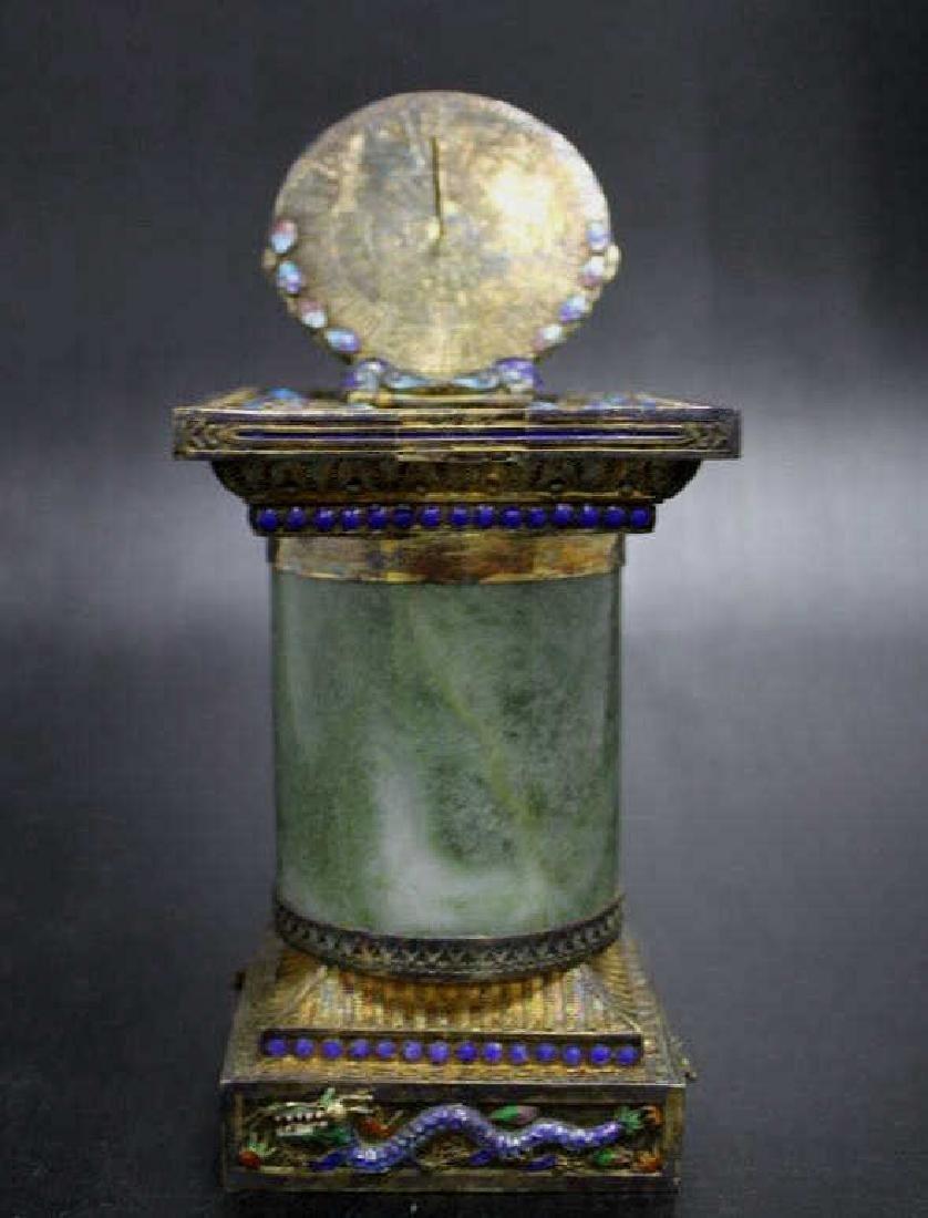 Ornate Silver Enamel on Brass Sundial