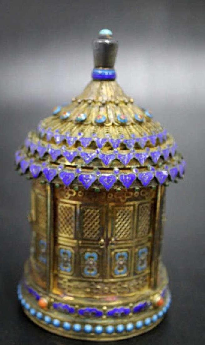 Fine Silver Enamel over Brass Etched Lidded Jar