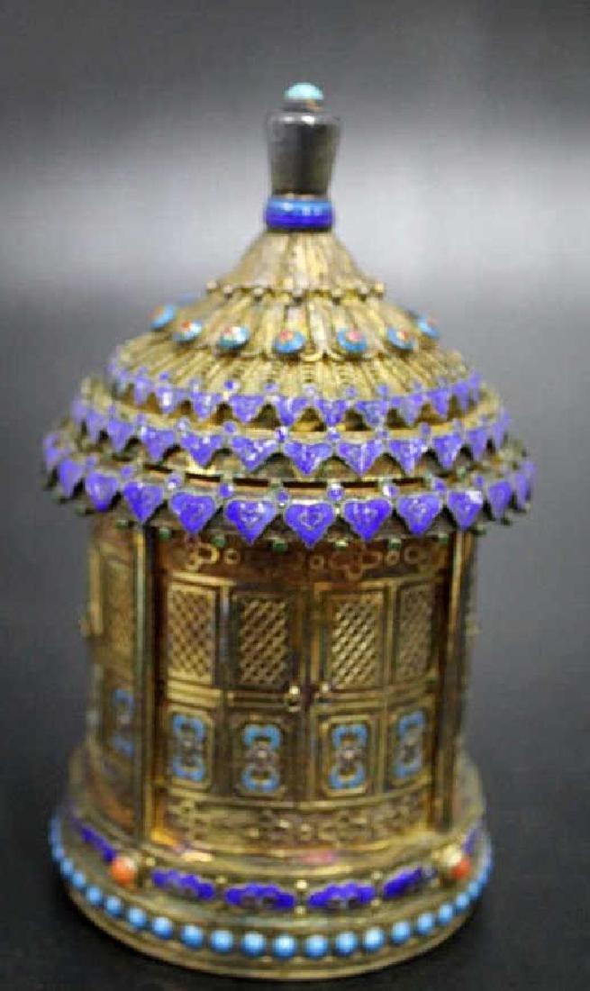 Fine Silver Enamel over Brass Etched Lidded Jar