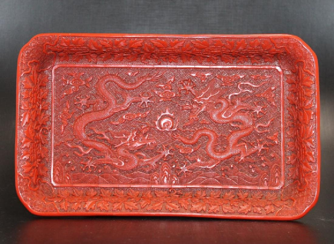 Highly Carved Lacquer Tray - Dragons
