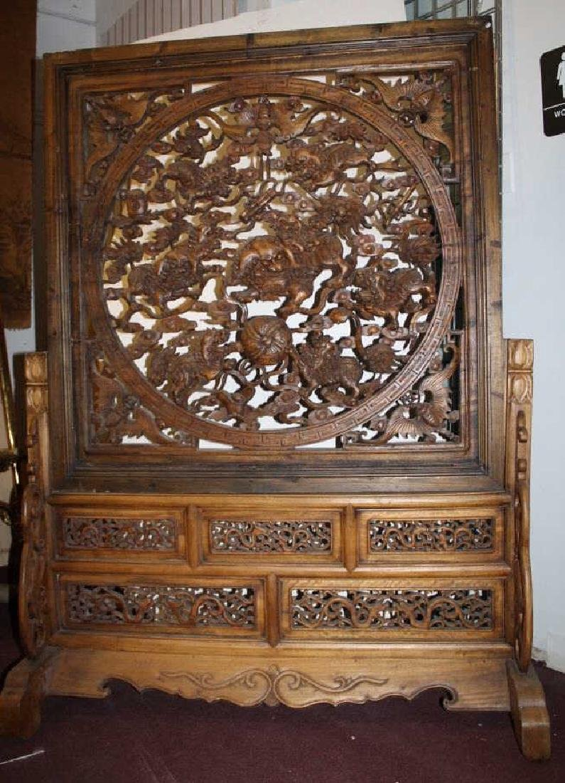 Highly Carved Wooden Floor Screen