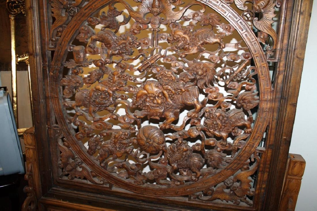 Highly Carved Wooden Floor Screen - 2