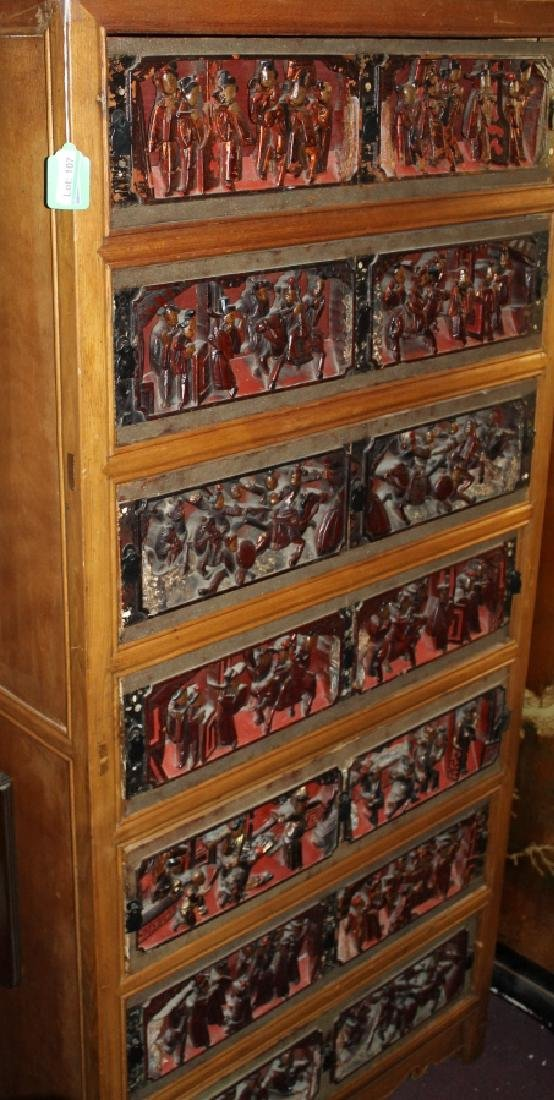 Chinese Dresser with Antique Carved Drawer Fronts - 2