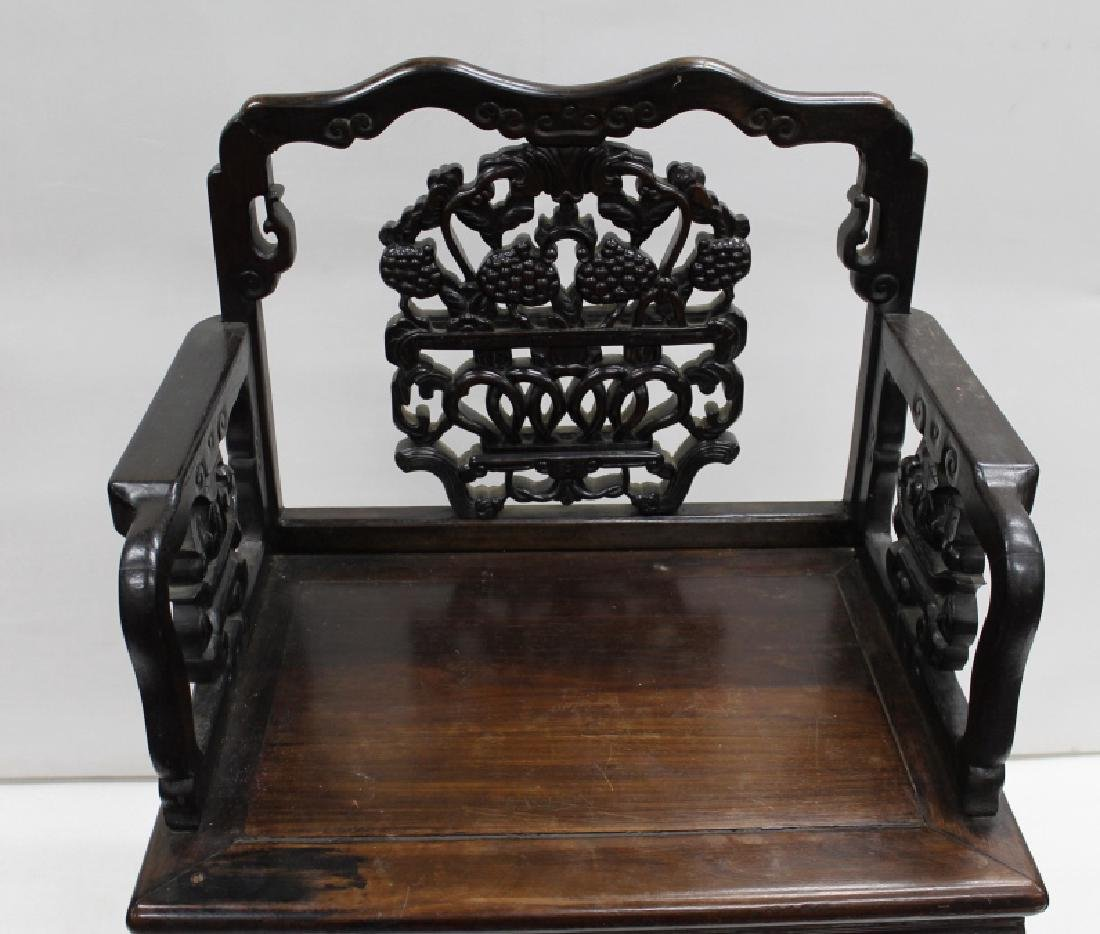 Highly Carved Chinese Wood Arm Chair - 3