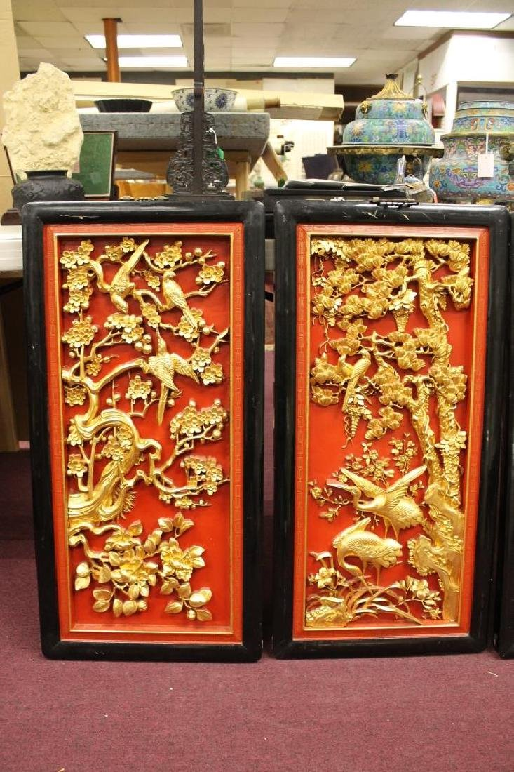 Lot of 4 Hand Carved Chinese Panels - 3