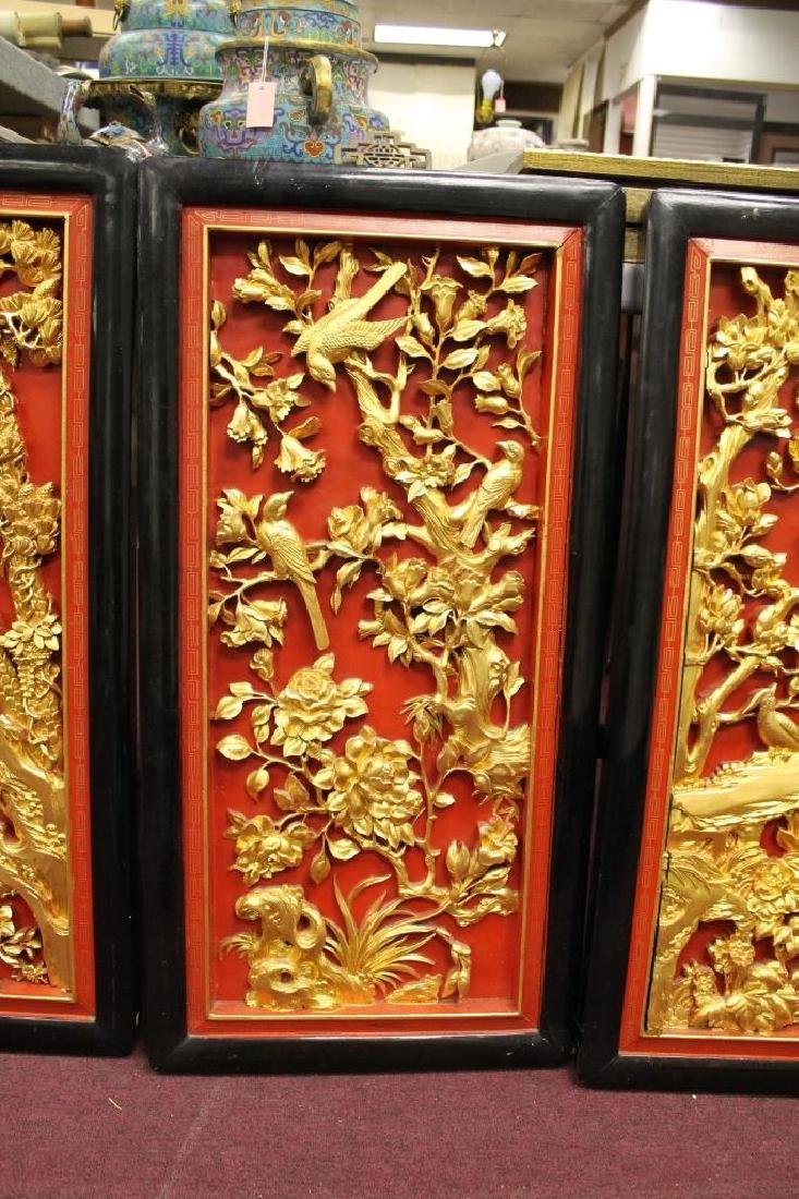 Lot of 4 Hand Carved Chinese Panels - 4