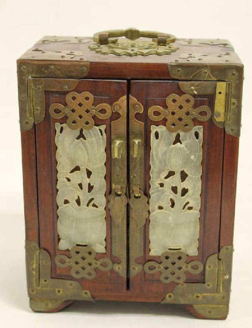 Chinese Wood Cabinet w/ Jade Inserts