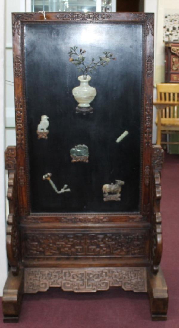 Antiques Antique Chinese Jade And Hardstone Inlay Six Panel Table Screen