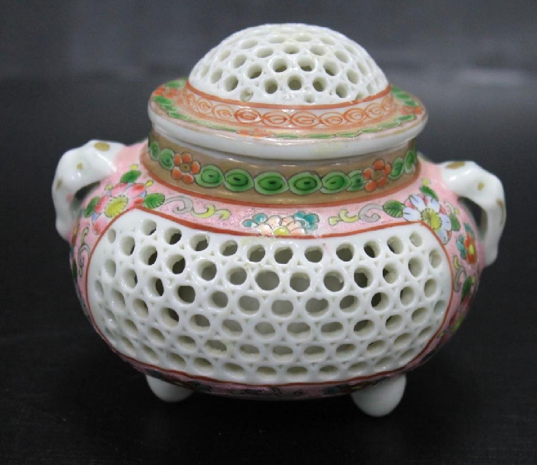 Reticulated Chinese Famille Rose Incense Burner