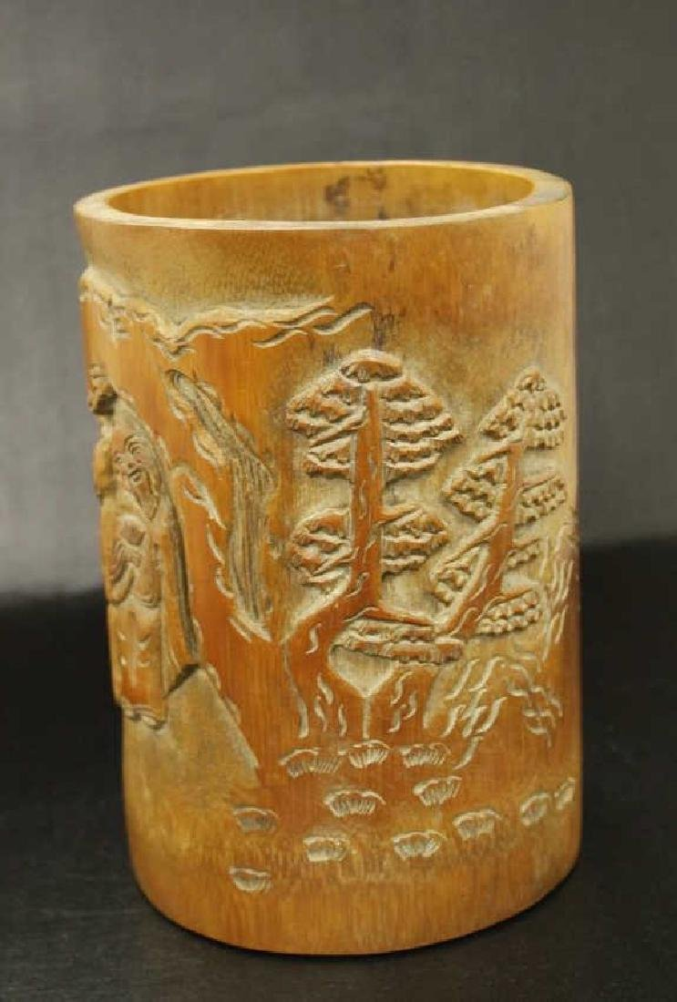 Bamboo Carved Brushpot - 2
