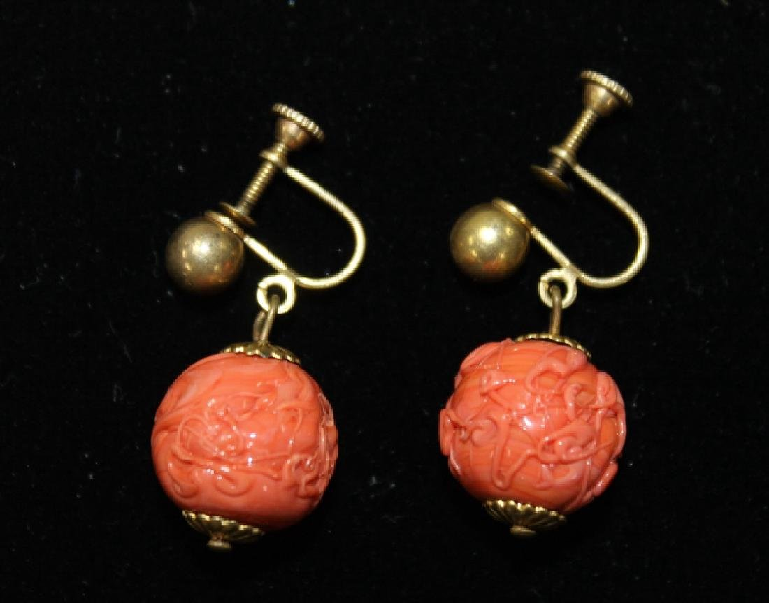 Pair of Carved Cinnabar Earrings