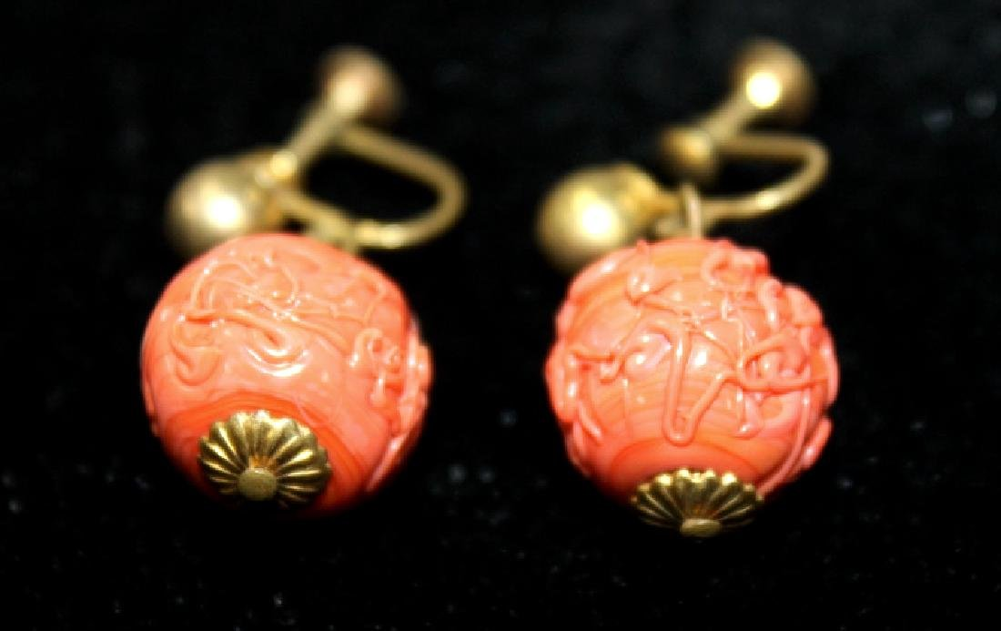 Pair of Carved Cinnabar Earrings - 3