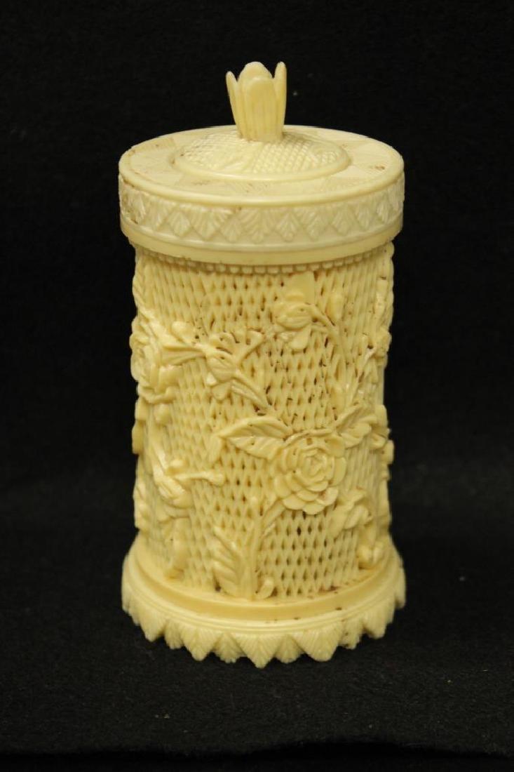Highly Carved Bone Jar