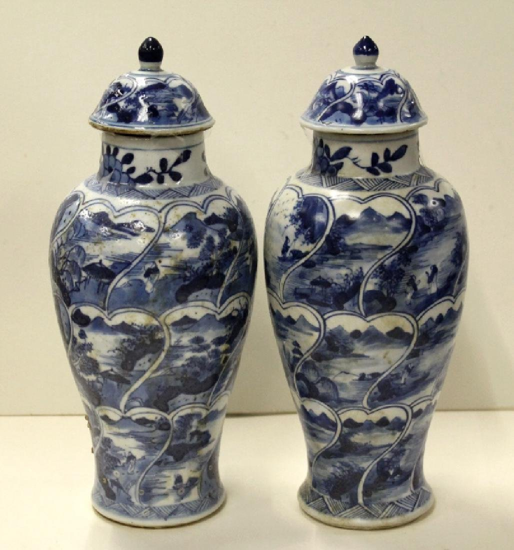 Pair of Chinese B&W Lidded Urns