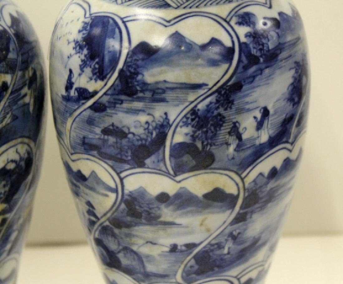 Pair of Chinese B&W Lidded Urns - 2