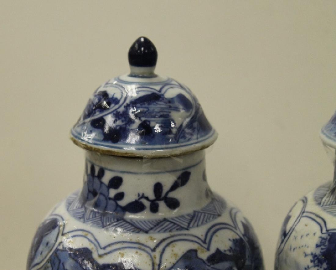 Pair of Chinese B&W Lidded Urns - 3