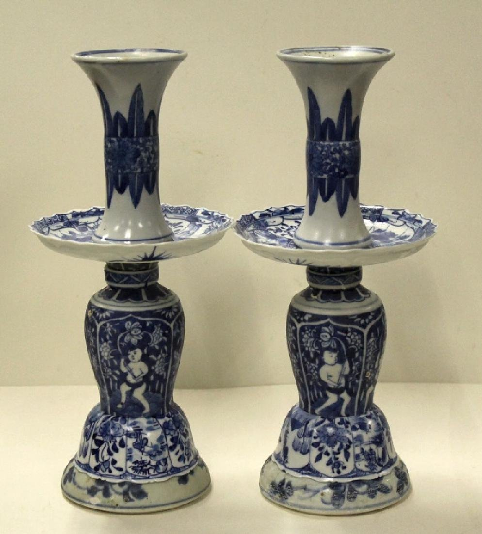Pair of Chinese B&W Candlesticks