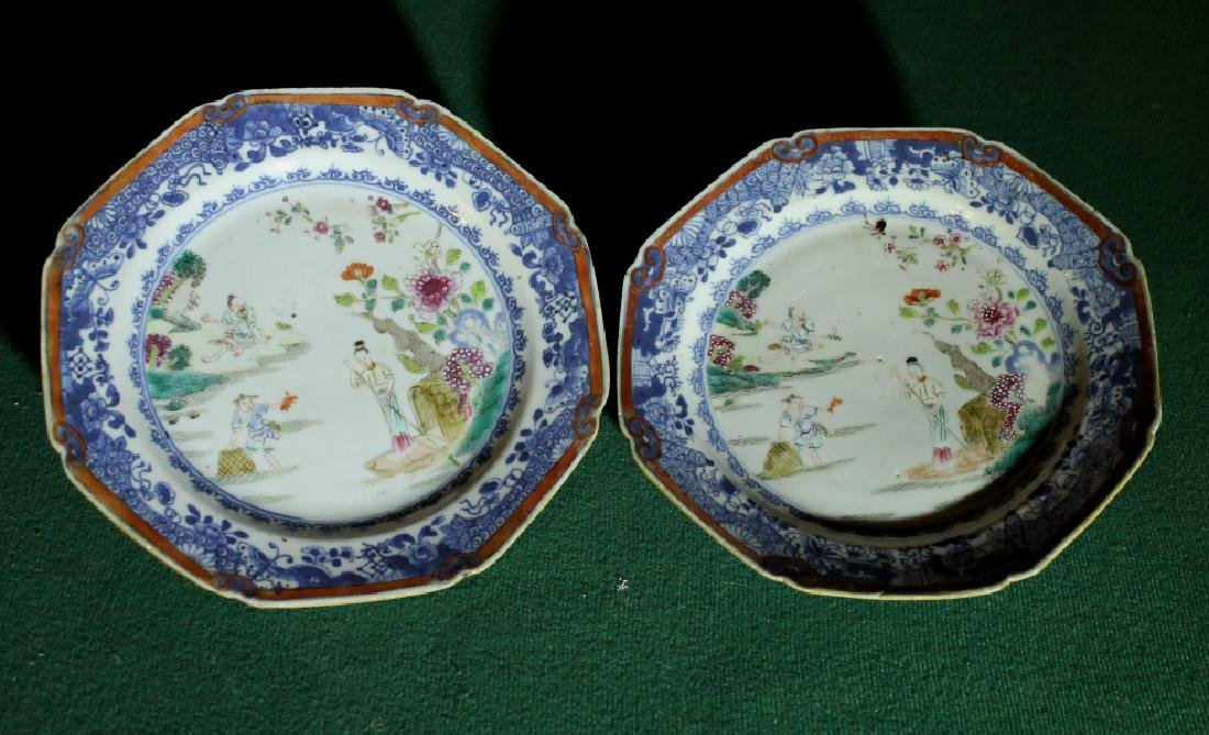 Pair Qing Dynasty Export Famille Rose Plates