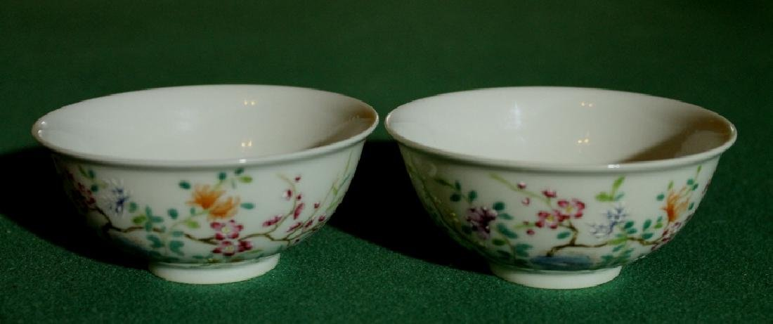 Pair Small Famille Rose Bowls