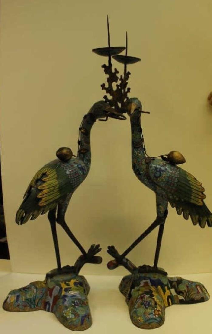 Qing Pair of Cloisonne Cranes