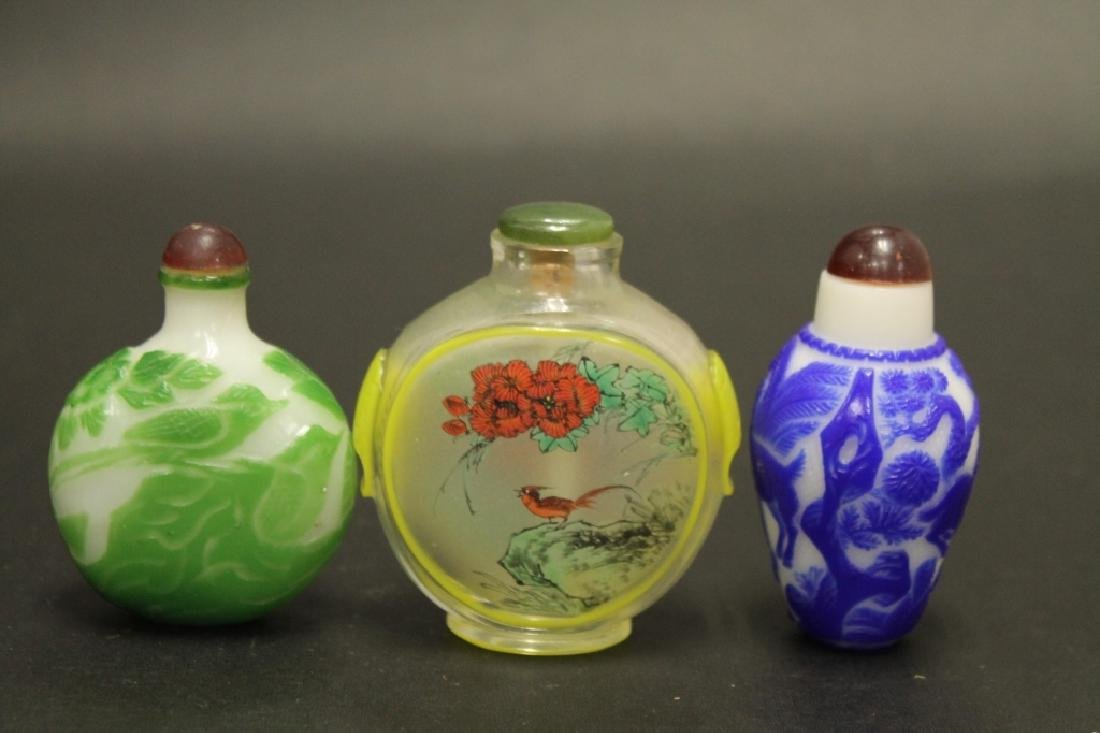 Lot of 3 Peking Glass Snuff Bottles