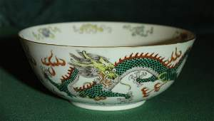 Chinese Famille Verte Dragon Bowl