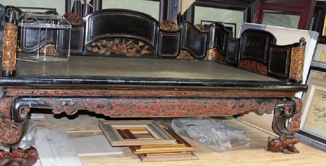 Qing Highly Carved  Chinese Lacquer Opium Bed
