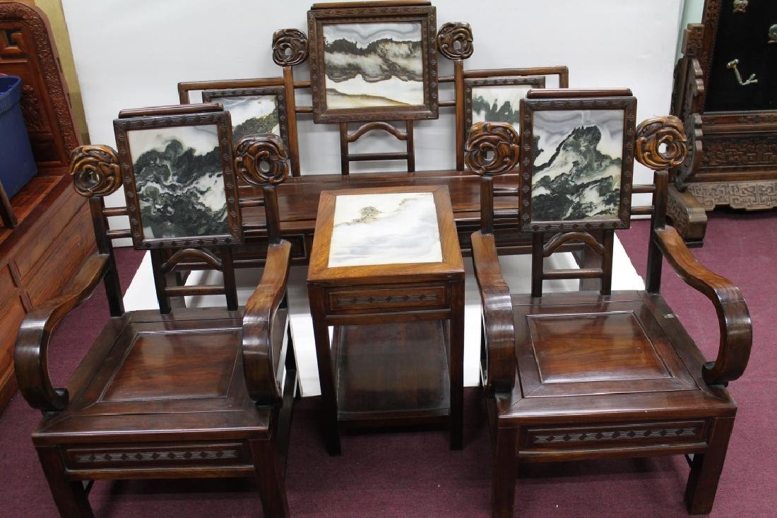 Lot of 4 Chinese Rose Wood & Marble Parlor Suite