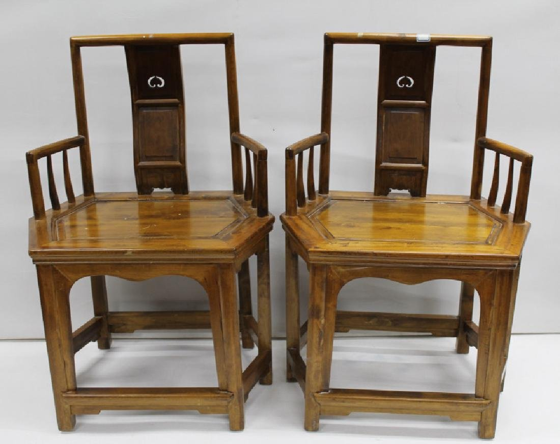 Pair of Chinese Wooden Armchairs