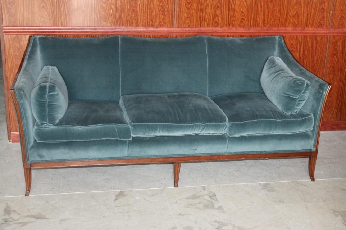 Wood Blue Sofa