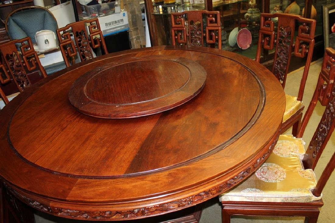 Large Chinese Wood Table W/ 8 Wood Chairs