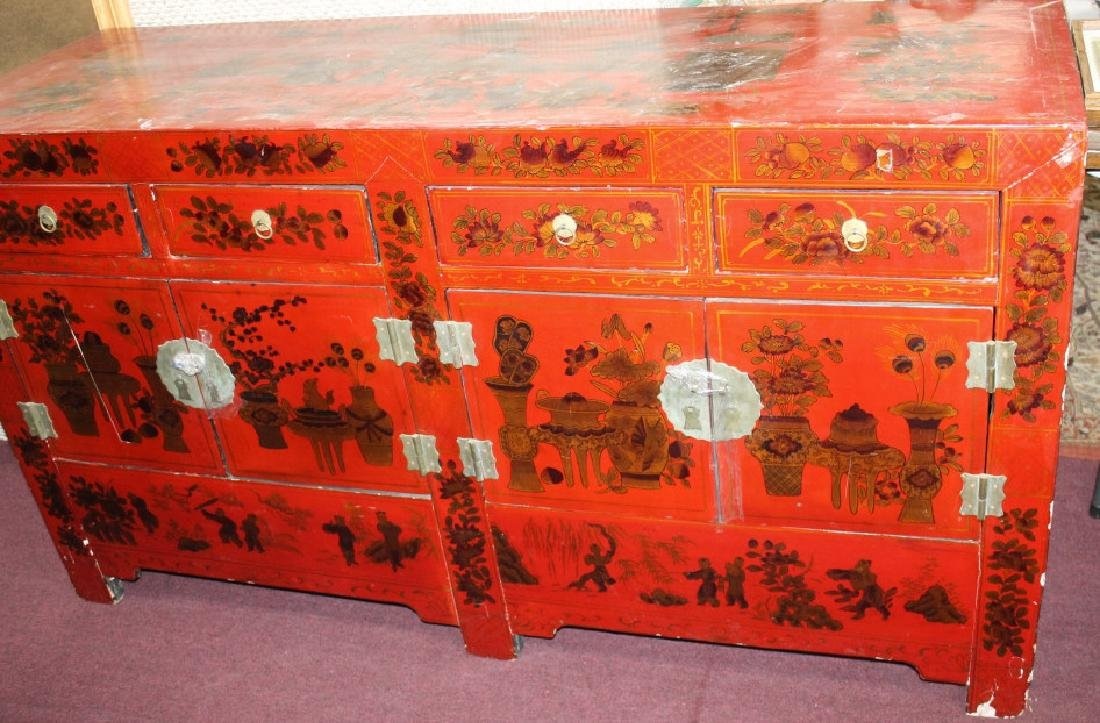Large Chinese Red Lacquered Cabinet