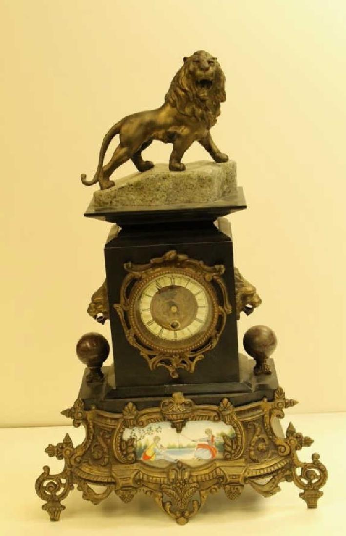 Louis XVI Ormolu and Black Marble Mantel Clock